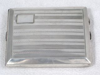 Antique 103.  5g Sterling Silver Cigarette Case With Unusual Interior Dated 1927 photo
