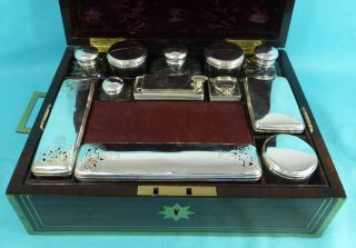 Very Rare Sterling Silver Gentleman ' S Travelling Toilet Set Box Paul Storr 1833 photo