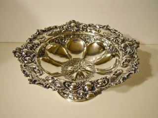 Antique English.  925 Sterling Silver 1899 Henry Atkin Floral Medallion Bowl 410g photo