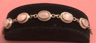 Sterling Silver And Rose Quartz Bracelet photo