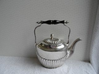 Victorian Silver Plate Kettle In Queen Ann Style Shape. photo