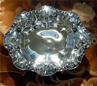 Sterling Silver Oval Bowl W/ Repousse Poppy Flowers 7