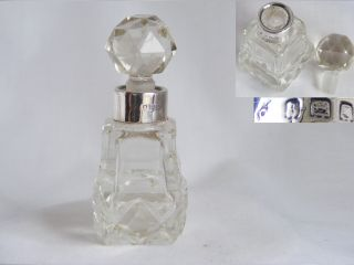 Silver Collared,  Cut Glass Perfume Bottle – 1922? London photo