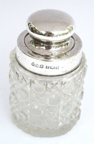 Antique Solid Silver & Hobnail Glass Perfume Scent Bottle Inkwell C1905 photo