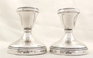 Pair Of Vintage Hallmarked Sterling Silver Candlesticks photo