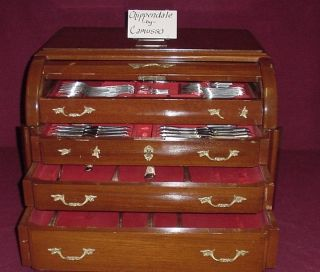 Chippendale By Camusso Sterling Silver Flatware Set Service In Chest 167pcs photo