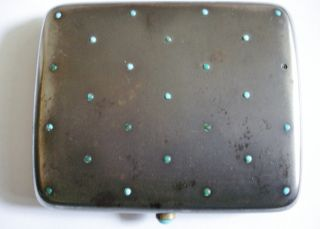 Steel Set With Turquiose Cabochon Stones Cigarette Case photo