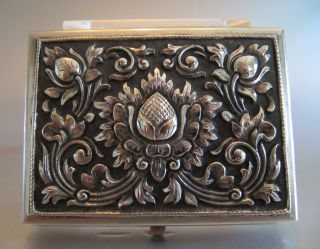 ‹ (•¿•) › An Antique Persian Silver 800 Cigarette Case Hand Hammered photo