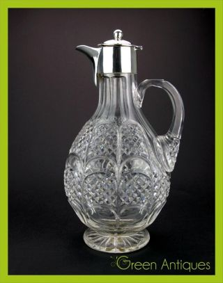 Antique 20thc Edwardian Solid Silver & Cut Glass Wine Pitcher,  London C.  1902 photo