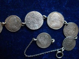 Silver Coin Bracelet 8 Coins James 11 Charles 11 George 1 & 11 William & Mary + photo