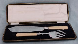 Silver Banded & Silver Plate Fish Servers Allen & Darwin 1912 Boxed Set photo