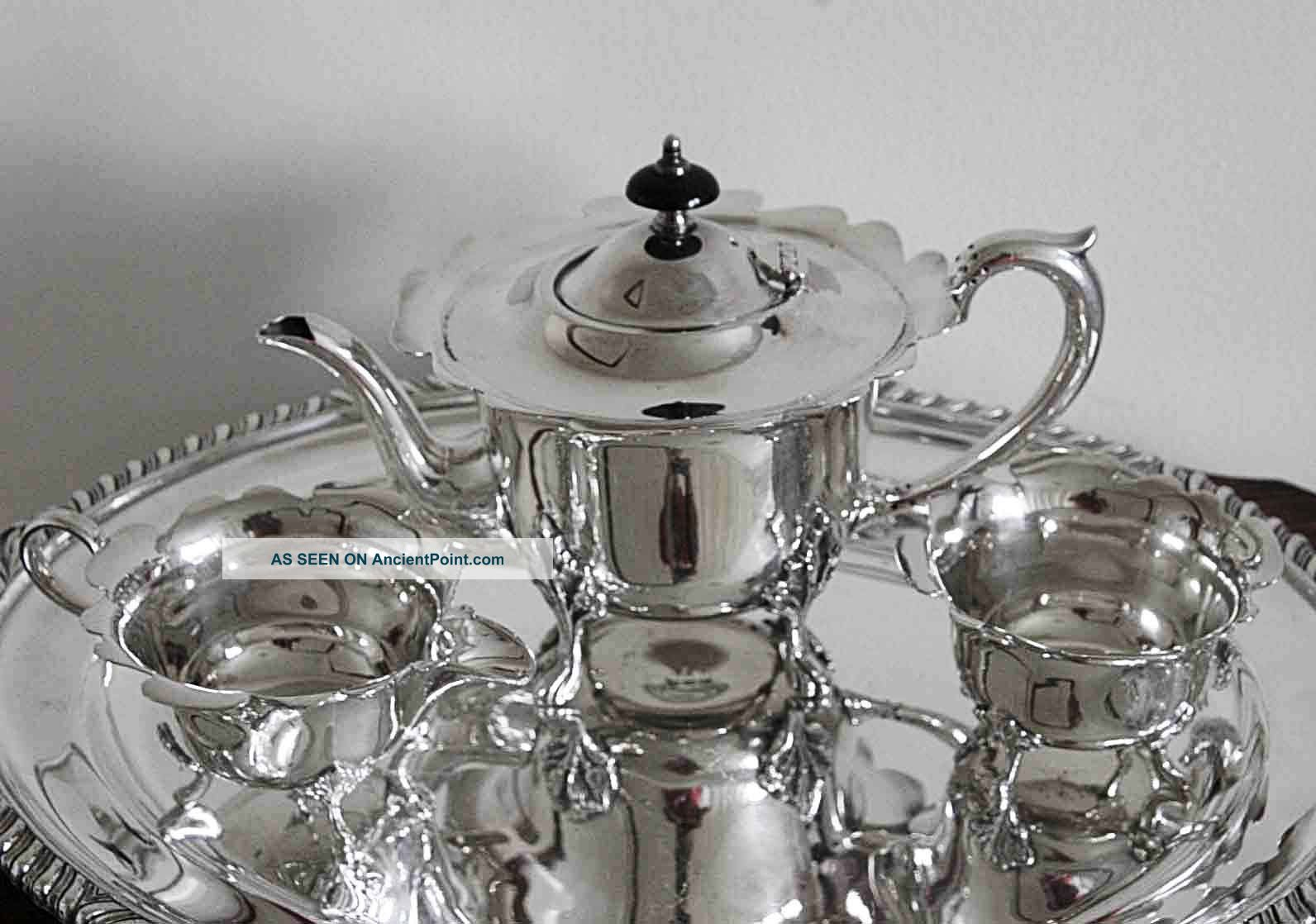 An Extremely Pretty Vintage Silver Plated Teaset With Scalloped Feature On Rim Tea/Coffee Pots & Sets photo
