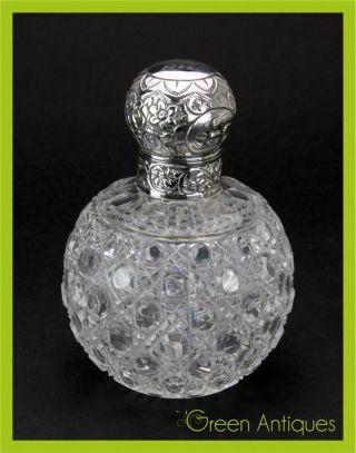 Antique 19thc Victorian Solid Silver & Cut Glass Perfume Bottle C.  1876 photo
