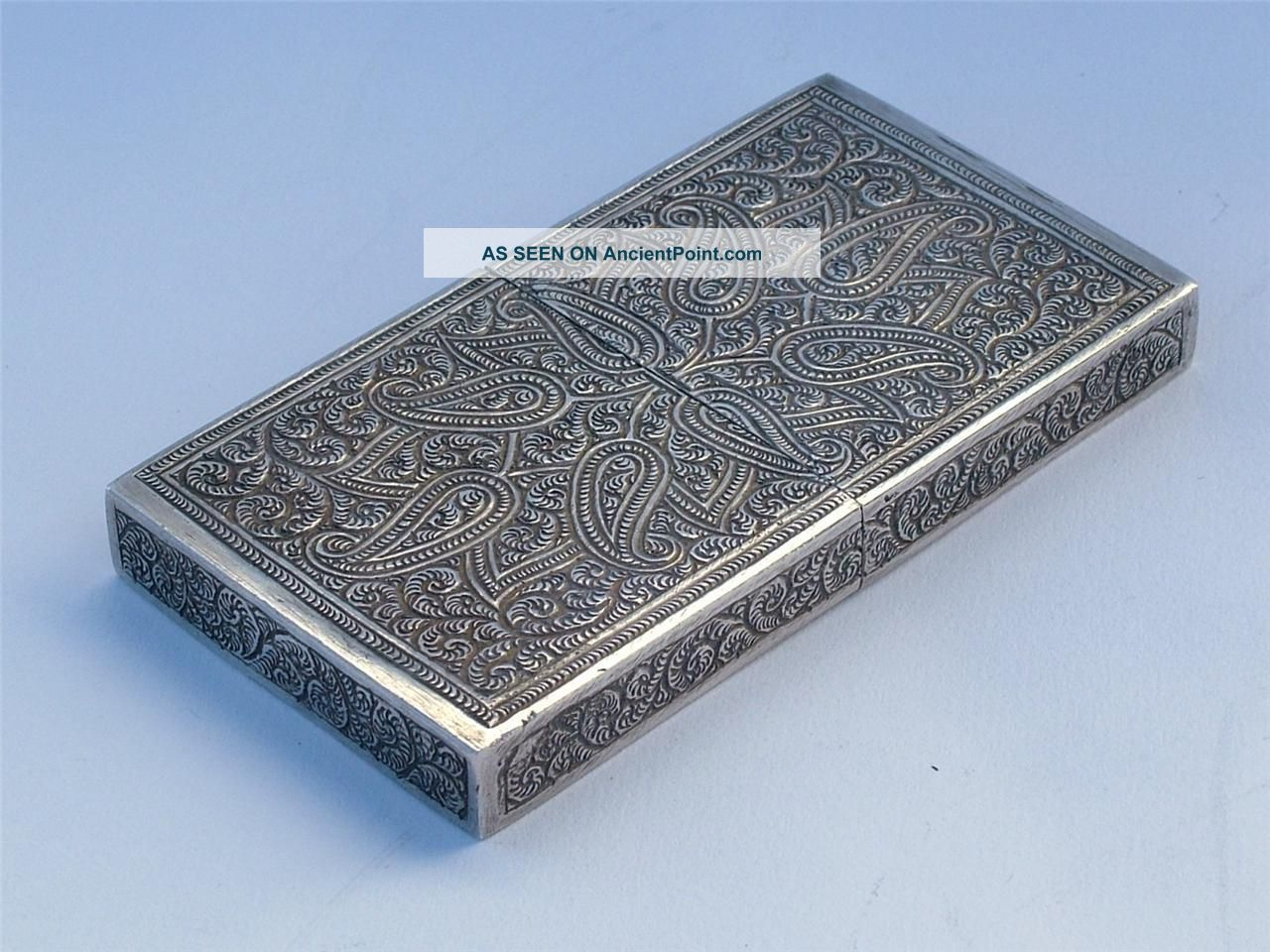 Beauiful Antique Indian Silver Engraved Calling / Business Card Case Card Cases photo