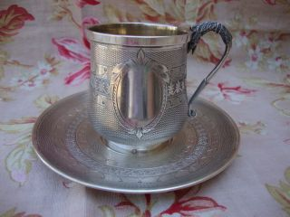 Antique French Solid Silver Cup & Saucer 950/1000 Minerva 1st Grade photo