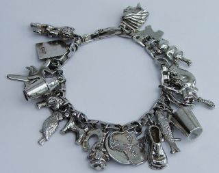 Gorgeous Vintage Solid Sterling Silver Charm Bracelet & 23 Lovely Charms photo