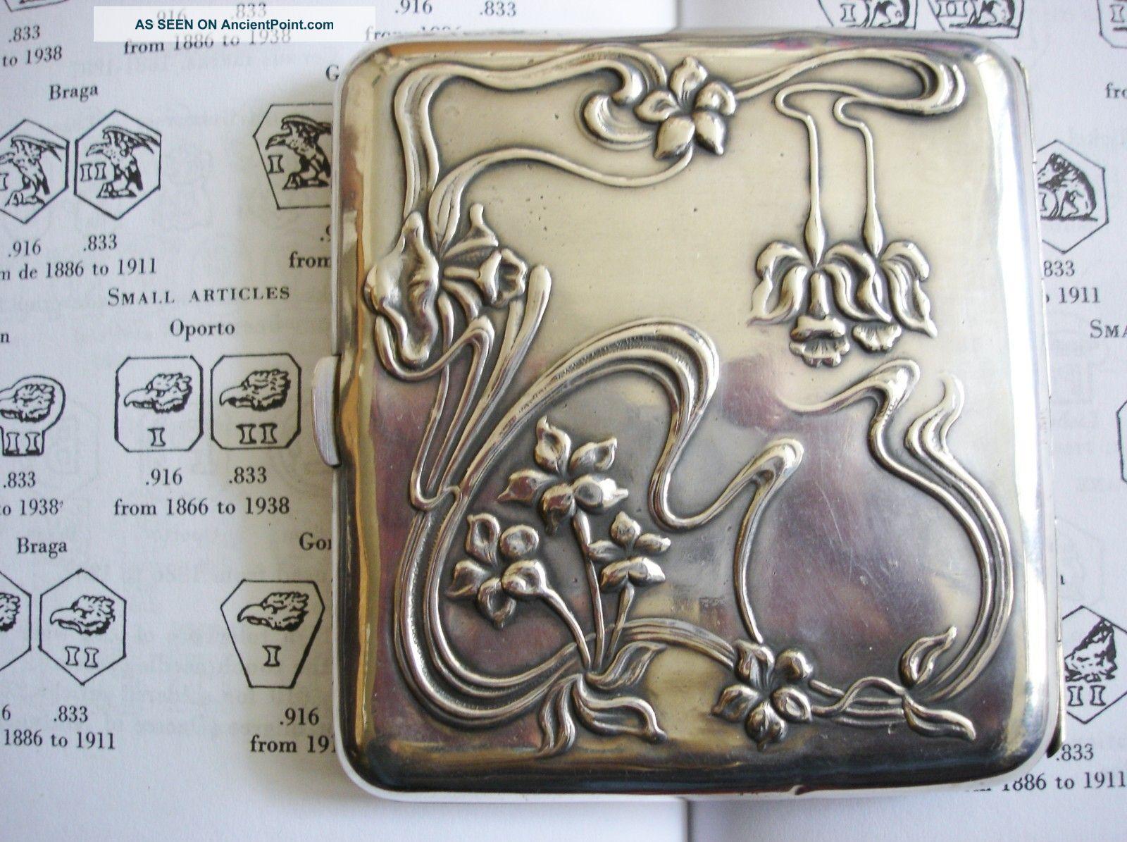Continental Art Nouveau Hallmarked Solid Silver Cigarette Case Cigarette & Vesta Cases photo