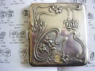 Continental Art Nouveau Hallmarked Solid Silver Cigarette Case photo