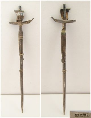 Sterling Silver Chinese Junk Cocktail Sticks C1920 photo