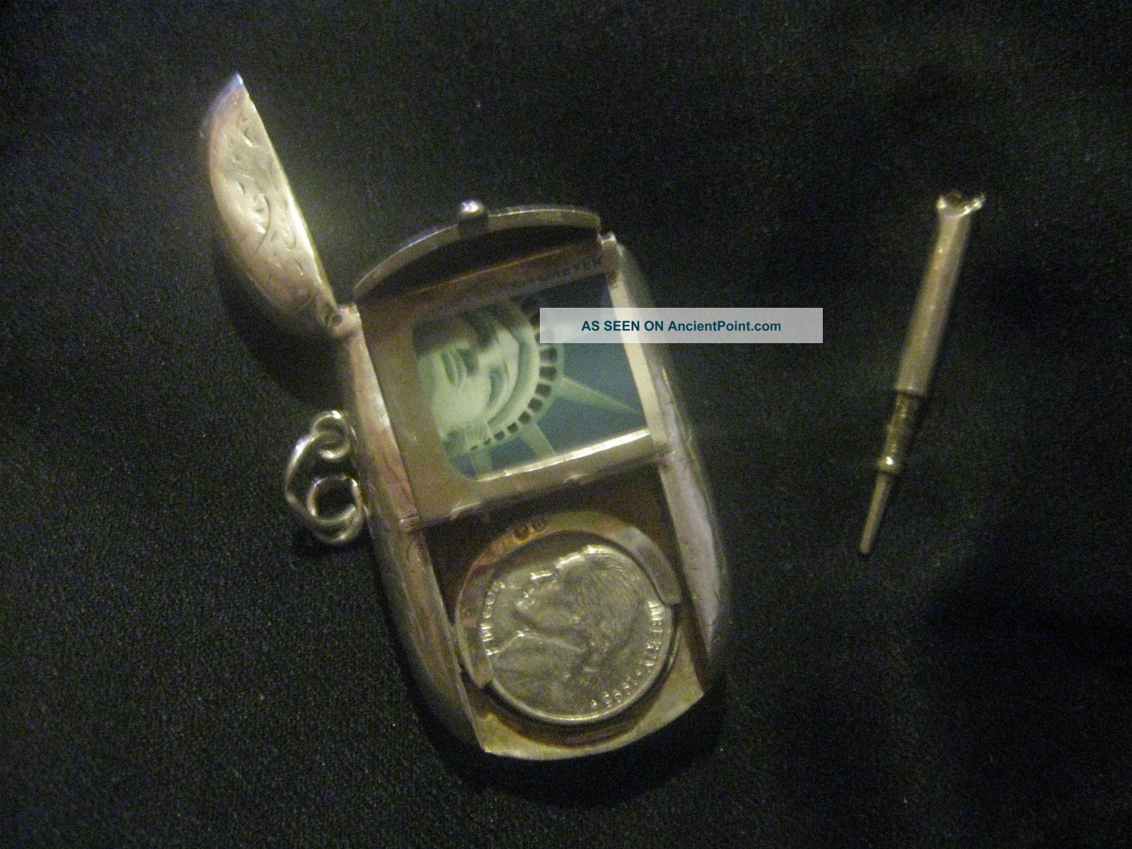 Vintage Antique Victorian Sterling Silver Sovereign/vesta/pencil Chatelaine Fob Other photo
