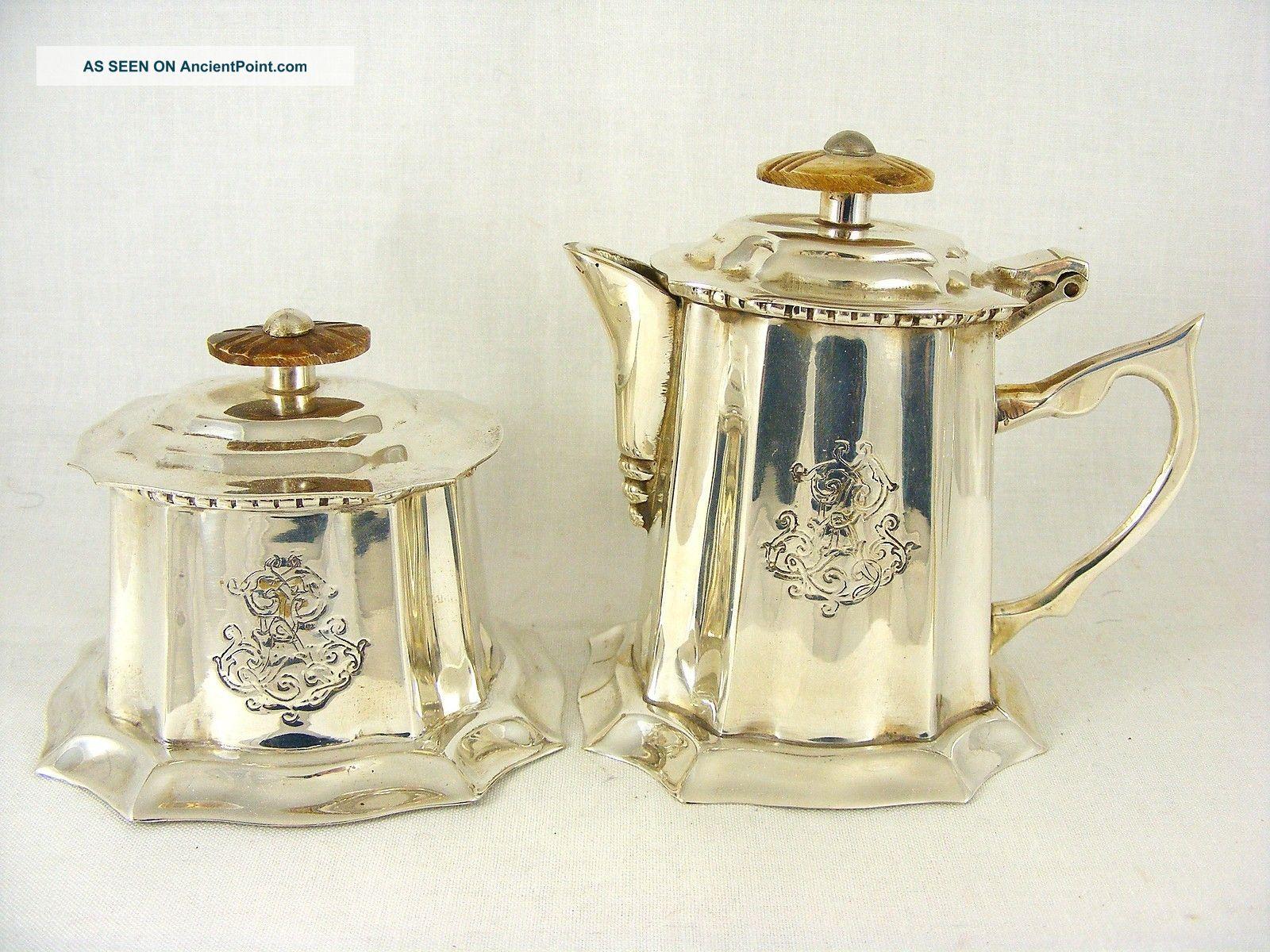 Silver Plated Royal Sheffield Miniature Teapot & Sugar Pot Engraved Tea/Coffee Pots & Sets photo