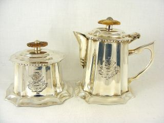 Silver Plated Royal Sheffield Miniature Teapot & Sugar Pot Engraved photo