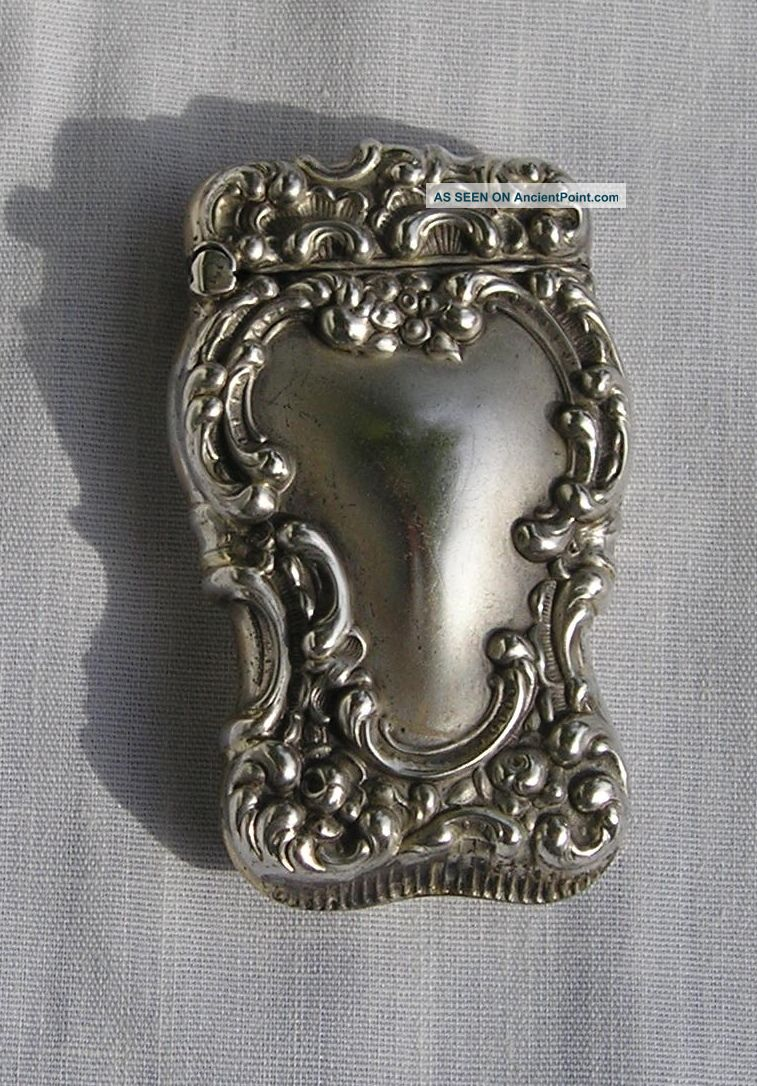 Antique Sterling Silver Match Safe/ Case Cigarette & Vesta Cases photo