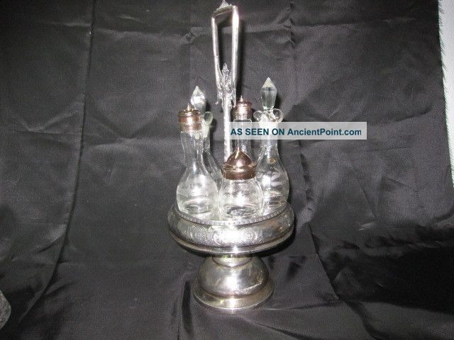 Vintage 6 Piece Middletown Silver Floral Victorian Oil Vinegar Cruet Castor Set Other photo