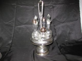 Vintage 6 Piece Middletown Silver Floral Victorian Oil Vinegar Cruet Castor Set photo