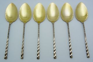 6 - Whiting Sterling Silver Ice Cream Spoons Square Twist Gold Wash photo