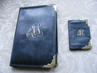 Silver & Leather Notepad Holder And Same Card Holder C1890s Stunning Rare Vgc photo
