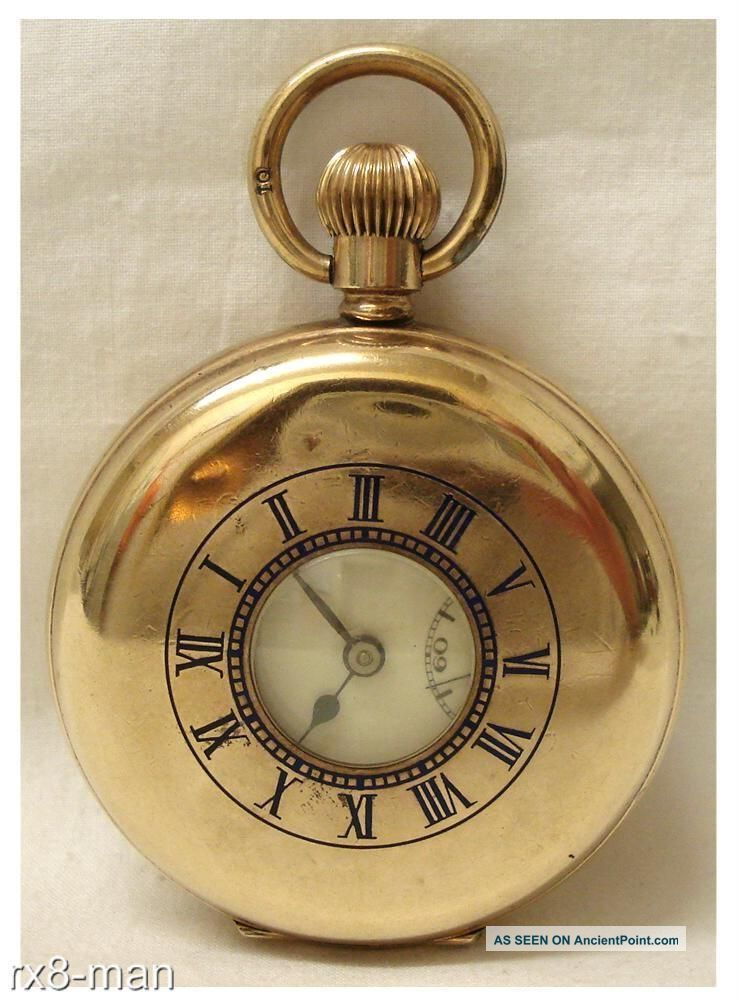 Antique Swiss Made Gold Plated Half Hunter Pocket Watch Working Pocket Watches/ Chains/ Fobs photo