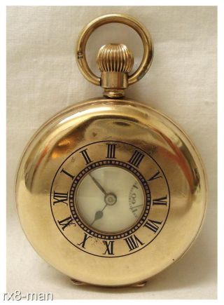 Antique Swiss Made Gold Plated Half Hunter Pocket Watch Working photo