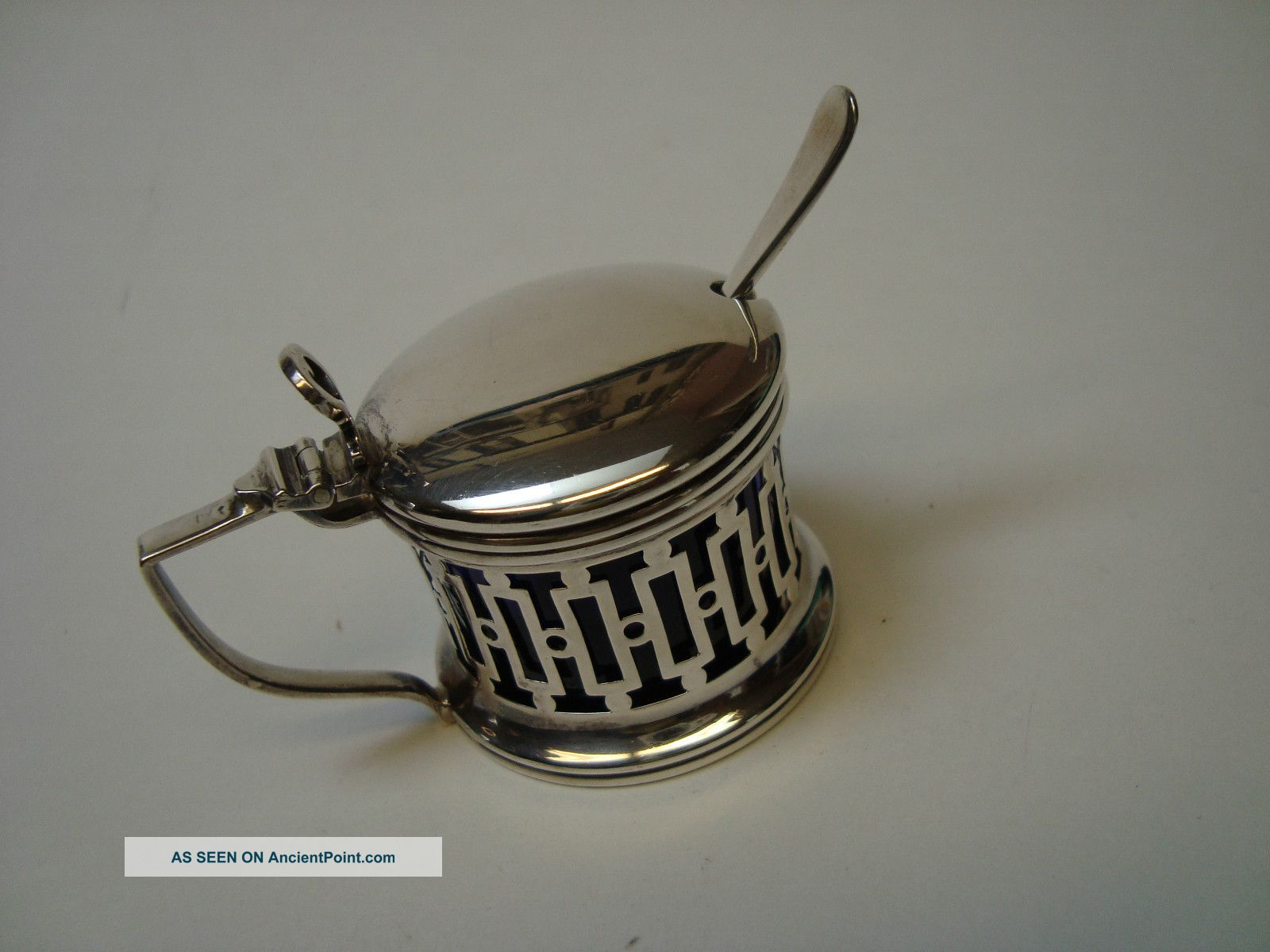 Art Deco Sterling Silver Mustard Pot With Cobalt Glass Liner & Spoon Mustard Pots photo