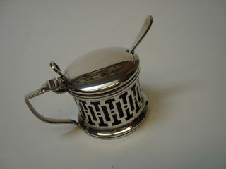 Art Deco Sterling Silver Mustard Pot With Cobalt Glass Liner & Spoon photo
