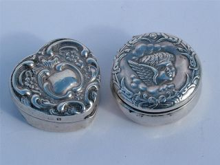 2 Solid Silver 1901 Boxes Including Heart Shaped & Cherub photo