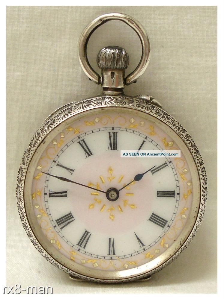 Antique Solid Silver Ladies Fob Pocket Watch Swiss Made Pink Dial Working Pocket Watches/ Chains/ Fobs photo