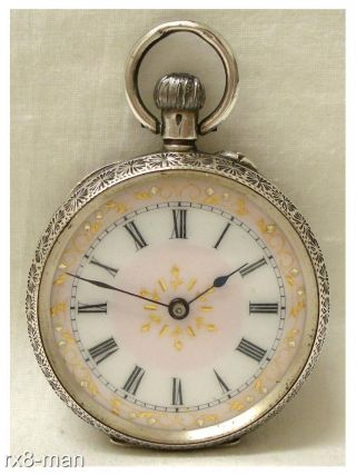 Antique Solid Silver Ladies Fob Pocket Watch Swiss Made Pink Dial Working photo