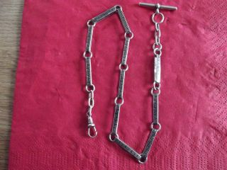 Vintage Sterling Silver Albert Chain,  14.  5 Inches Long. photo