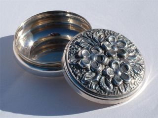 Very Attractive Vintage Solid Silver Box Embossed With Flowers photo