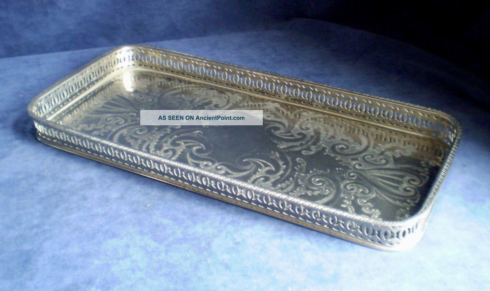 Lozenge Shape Silver Plated Georgian Style Gallery Tray 41 X 20cm Platters & Trays photo