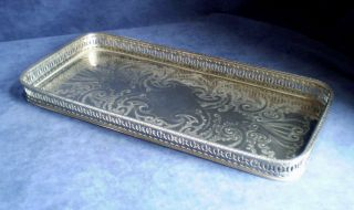 Lozenge Shape Silver Plated Georgian Style Gallery Tray 41 X 20cm photo