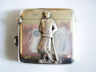 Solid Silver Golfer Vesta Case/match Safe Hallmarked Chester 1926 photo
