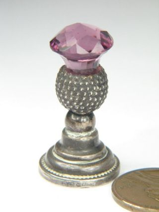 Antique English Silver Amethyst Thistle Fob Desk Seal C1907 photo