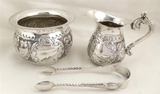 Antique Hallmarked Sterling Silver Fluted Jug,  Bowl & Tongs Set - 1904 photo