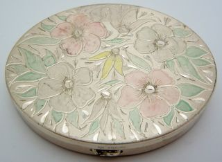 Vintage Kk Sterling Silver Oval Compact Case Floral photo