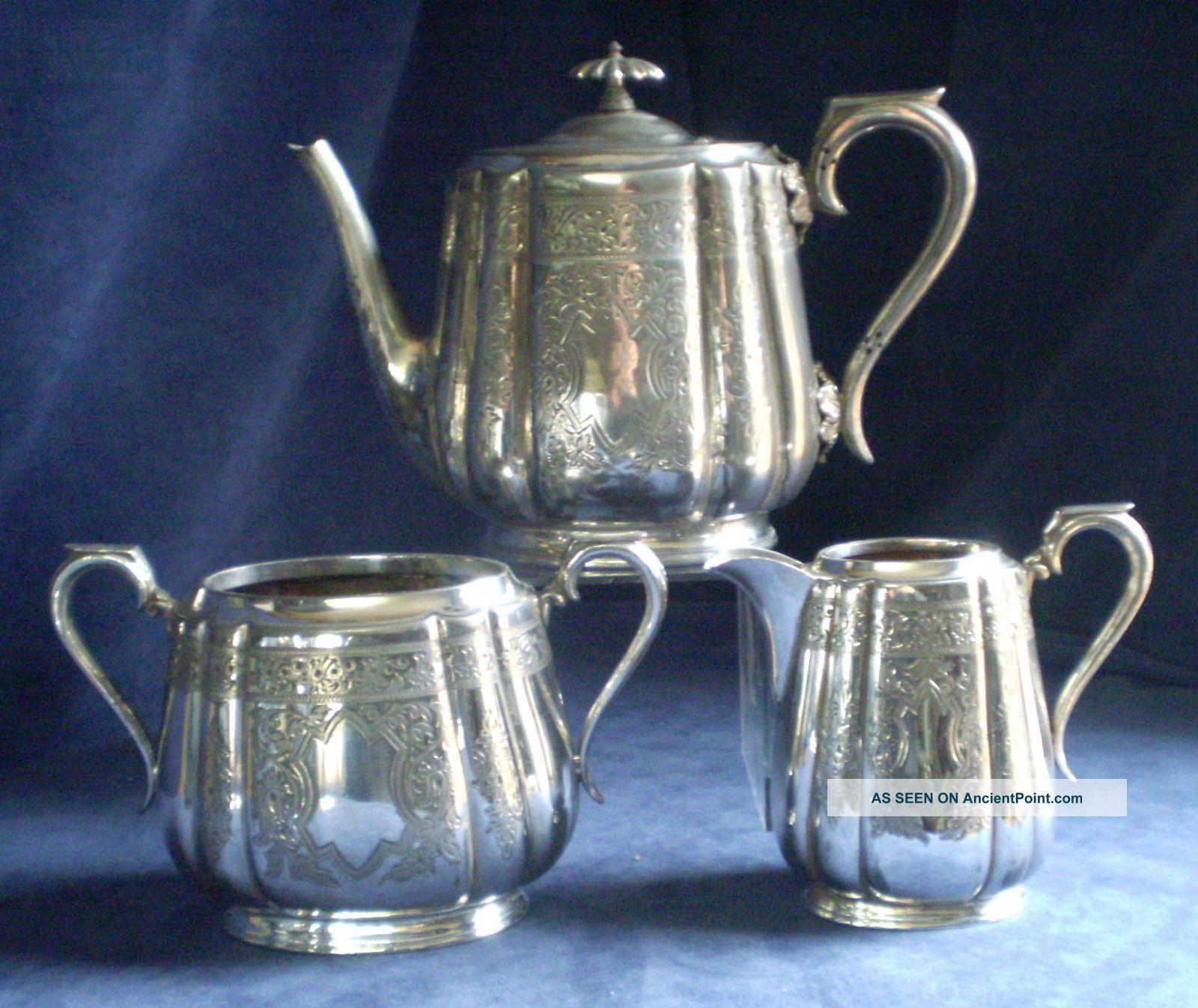 Good Old Ornate Engraved Walker & Hall Silver Plated Teaset C1890 Tea/Coffee Pots & Sets photo