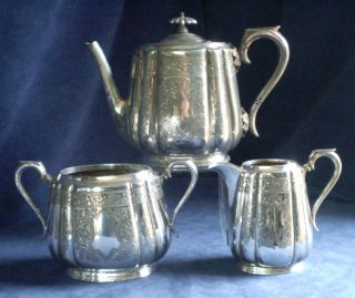 Good Old Ornate Engraved Walker & Hall Silver Plated Teaset C1890 photo