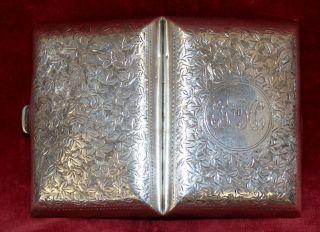 Solid Silver Cigarette Case 50.  80 Grams +++ 1911 Birm photo