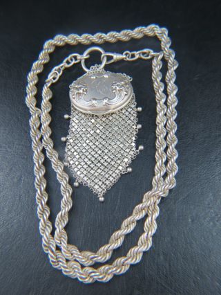 Victorian Gorham Signed Chatelaine Mesh Sterling Silver Coin Purse 8.  18 Ounces photo